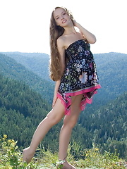 Beautiful girl Virginia Sun posing in nature and at home