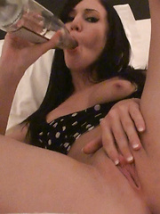 Catie Minx combining her two fave things, drinking and masturbating