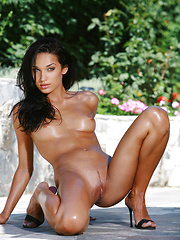 Long and lean Olga has dark features with beautiful tanned skin and she is ready.