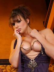 Beautiful Misty Anderson wraps up her curves in a sexy purple dress, and obliges us all by stripping out of it and revealing her gorgeous hot body.
