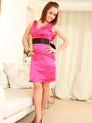 Kayleigh P takes her evening dress off revealing gorgeous satin lingerie.